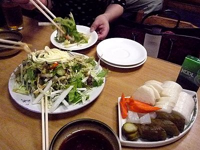 生野菜サラダ小とお新香