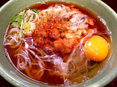 「グル麺」季節かき揚そば+生玉子