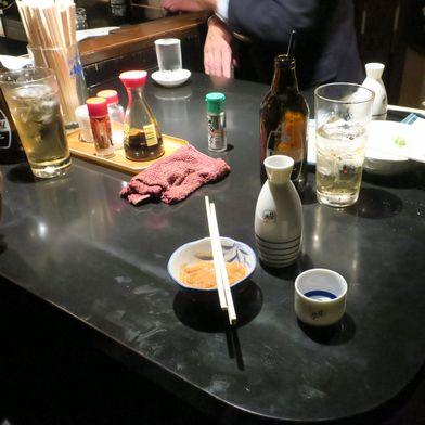 塩辛で燗酒