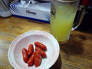 赤いウインナーと沖縄シークワーサー