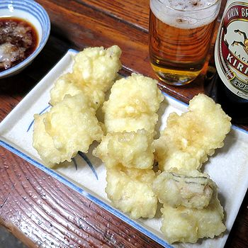 あなご天ぷらでビール
