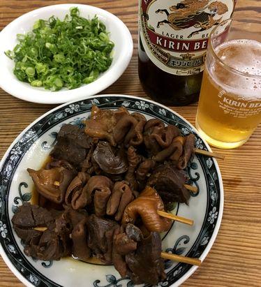 関東煮、ねぎ、ビール