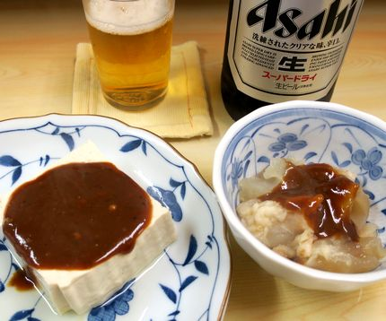 豆腐とスジでビール