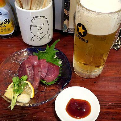 生ビール&かつお刺身